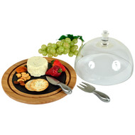 Provence Glass Dome Bamboo & Slate Cheese Set