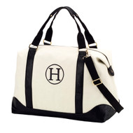Black Sullivan Weekender Bag - Monogram Shown: Single Classic Font/Black Thread