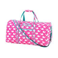 Pink Whale Duffel Bag - Monogram Shown: Classic Font/Mint Thread