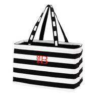 Black Striped Ultimate Tote - Monogram Shown: Red Thread/Stacked Font