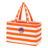Orange Striped Ultimate Tote - Monogram Shown: Purple Thread/Master Circle Font