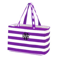 Purple Striped Ultimate Tote - Monogram Shown: Black Thread/Circle Font