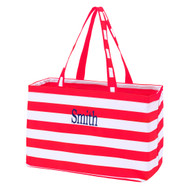 Red Striped Ultimate Tote - Monogram Shown: Navy Thread/Classic Font