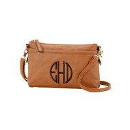 Camel Crossbody Purse - Monogram Shown: Circle Font/Black Thread