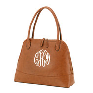 Camel Handbag - Monogram Shown: Master Circle Font/White Thread