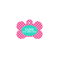 Personalized Hot Pink Dot Bone Pet Tag