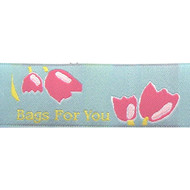 Tulips on Sky Blue Fabric Clothing Labels