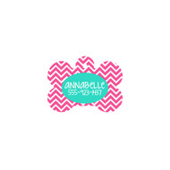 Personalized Hot Pink Chevron Bone Pet Tag