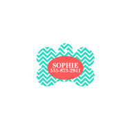 Personalized Mint Chevron Bone Pet Tag