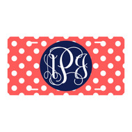 Personalized Coral Dot License Plate