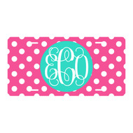 Personalized Hot Pink Dot License Plate