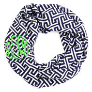 Monogrammed Navy Greek Key Infinity Scarf