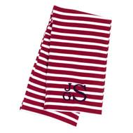 Monogrammed Garnet Stripe Infinity Scarf