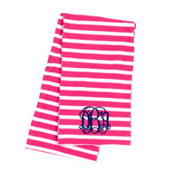 Monogrammed Hot Pink Stripe Infinity Scarf