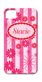 Hard Case Phone Cover - Breast Cancer Pink Floral and Stripes
