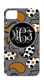 Hard Case Phone Cover - Grey and Brown Paisley