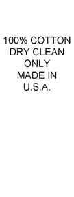 100% Cotton, Dry Clean Only, Made in USA Care and Content Labels