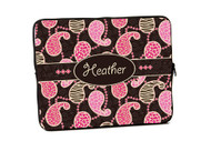 Breast Cancer Pink and Brown Animal Print Paisley iPad and Laptop Cases