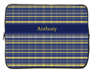 Blue and Gold Plaid iPad and Laptop Sleeves