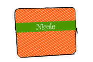 Fun Stripes Orange with Green iPad and Laptop Sleeves