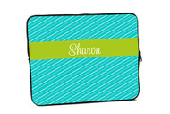 Fun Stripes Turquoise with Green iPad and Laptop Sleeves