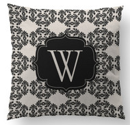 Black and White Frilly Initial Custom Designer Pillows