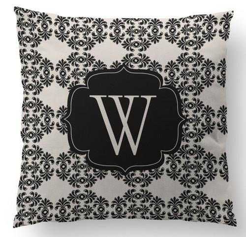 Black and White Frilly Initial Custom Designer Pillows