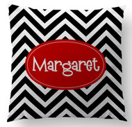 Black and White Chevron Name Custom Designer Pillows