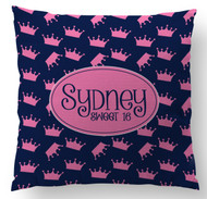 Crowns on Blue Custom Designer Pillows