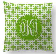 Green Bamboo Monogram Custom Designer Pillows