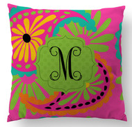 Floral Initial Custom Designer Pillows