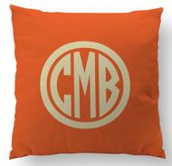 Solid Orange Monogram Custom Designer Pillows