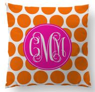 Orange Polka Dots Custom Designer Pillows