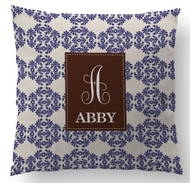 Periwinkle Frilly Initial and Name Custom Designer Pillows