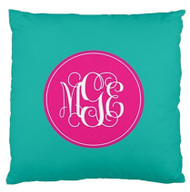 Solid Turquoise Monogram Custom Designer Pillows