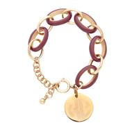 Enamel Link Bracelet with Gold Disc - Garnet