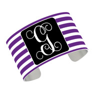 Cuff Bracelet - Purple Stripe with Black