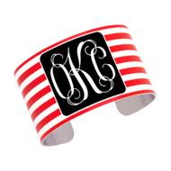 Cuff Bracelet - Red Stripe with Black