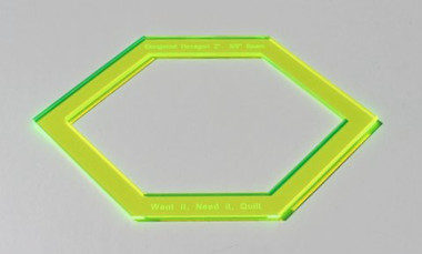 """Elongated Hexagon Template 2"""" with 3/8"""" seam allowance. Can be used with Ferris Wheel Template Set."""