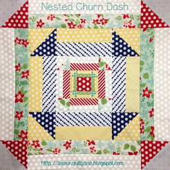 "Nested Churn Dash block starting with 4""x 4"" and progressing to a 8"" x 8"", 16"" x 16"" and a 24"" x 24"" finished block.  Great for stash busting. Use the different size blocks in combination to make a fun quilt."