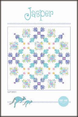 "Jasper  Finished block size: 16"" x 16""  FInished quilt size: 80 ½"" x 80 ½""     The Jasper Quilt is a twist on the traditional bear paw block.  Fat quarter friendly and perfect for using up your scrap stash.     Requirements  5 ¼ yards of background fabric  39 fat quarters - 18"" x 22"": 6 purple, 6 turquoise, 3 orange, 4 blue, 6 pink, 5 green and 9 light / low volume prints  ¾ yard binding fabric  86"" x 86"" square batting  5 ¼ yards of backing fabric  Skill level: Confident beginner and above"
