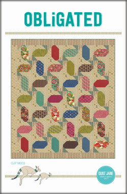 "Obligated  Finished Quilt Size 54 ½"" x 62 ½""  Finished Block Size 8"" x 8""  An easy, layer cake friendly project. Perfect for large, colourful  prints partnered with a background of low volume prints.  Requirements  Blocks: 1 layer cake (42 - 10"" x 10"" squares)  Border 1 and block background: 1 ¾ yds   Border 2 and blocks: 1 ¾ yds   Binding and blocks: 1 yd   Block background: ¾ yd   Batting: 60"" x 70""  Backing: 4 ¼ yds"