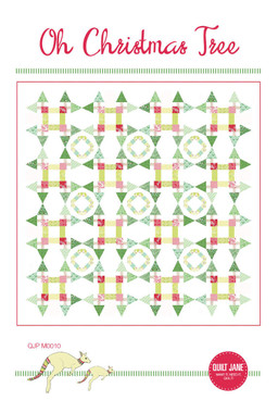 """Oh Christmas Tree  Finished Quilt Size: 86 ½"""" x 86 ½""""  Finished Block Size: 20"""" x 20""""    A festive quilt with all the trimmings of the season.     Requirements  Trees: ⅓ yard each of 6 green prints   Tree trunks: ⅓ yard grey print  Presents: 4 FQs red prints  Sashing: ⅓ yard each of 4 lime green prints   Wreath fabric 1: ⅛ yard of turquoise print  Wreath fabric 2: ½ yard of lime print  Background / Borders: 5 ½ yards white solid  Backing: 8 yards or  2 ⅔ yards 108"""" wideback  Batting: 92"""" x 92""""  Binding: ¾ yard red print   EZQuilting Tri-Rec Acrylic Tool (Optional)     Recommended skill level - intermediate and above."""