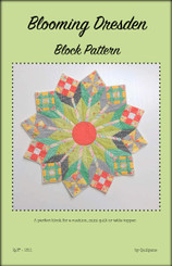 "Blooming Dresden Block  Finished block size: approx. 20"" x 20""    Requirements   for one block made with solids.  9 -patch block  Fabric 1 - 4"" x 13""   Fabric 2 - 5"" x 13""  Fabric 3 - 2"" x 7 ""  Pinwheel block  Fabric 4 - 5"" x 10""  Fabric 5 - 5"" x 10""  Churn Dash block  Fabric 6 - 6"" x 24""  Fabric 7 - 4"" x 8""  Fabric 8 - 3 ½"" x 3 ½""  Fabric 9 - 2"" x 24""  Stems  Fabric 10 - 6"" x 14""  Leaves (Blue)  Fabric 11 - 9"" x width of fabric  Background 1 (Mid Green)  12"" x width of fabric  Background 2 (White)  24""x width of fabric  Centre Circle  Fabric 13 - 5 ½"" x 5 ½"""