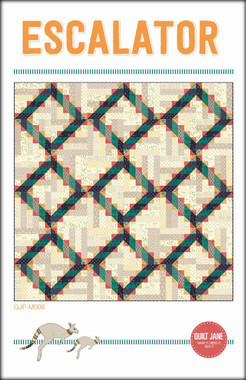 "Escalator  Finished block size: 12"" x 12""  Finished quilt size: 72 ½"" x 72 ½""    Going up. Going down. A fun quilt made using your stash of low volume fabrics and your favourite prints.  Pre-cut friendly.    Requirements  ¼ yard each of 5 orange prints  ¼ yard each of 5 gold prints  ⅓ yard each of 5 navy prints  ¼ yard each of 5 green prints  3 ¼ yards total of light/low volume prints  ¾ yard of binding fabric  76"" x 76"" square batting  4 ¾ yards of backing fabric"