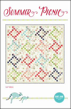"Summer Picnic  Jelly Roll Friendly  Finished Quilt Size 76 ½"" x 76 ½""  Finished Block Size 18"" x 18""  Requirements  4 strips of assorted red prints 2 ½"" x width of fabric, 4 strips of assorted green prints - 2 ½"" x width of fabric 4 strips of assorted aqua prints - 2 ½"" x width of fabric 4 strips of assorted navy prints - 2 ½"" x width of fabric 4 strips of assorted light coral prints - 2 ½"" x width of fabric Background prints: 4 ¾ yards of assorted light prints including remaining fabric from border print. Border print / background print: 2 ¼ yards Binding: ¾ yard Backing: 4 ¾ yards Batting: 82"" x 82"""