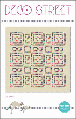 "Deco Street  Finished Quilt Size 80 ½"" x 80 ½""     An elegant and timeless design perfect for using your small print scraps.    Fat quarter friendly.    Requirements  Blocks: 32 fat quarters - (18"" x 22"")  Background  / Border solid: 4 ¾ yards   Binding: ¾ yard  Backing: 5 yards  Batting: 86"" x 86"""