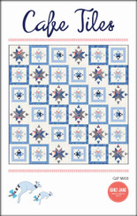 "Cafe Tiles  Finished Quilt Size 72 ½"" x 72 ½""  Finished Block Size 12"" x 12""    'As I sipped tea from a chine cup and ate scones with jam and cream, I gazed down on the floor of the quaint cafe. '   A perfect sized throw quilt for the confident beginner and beyond.     Requirements  The cover quilt uses fabrics from The Bloomsbury collection by Franny & Jane for Moda. These fabrics can be easily replaced by your favourite prints."