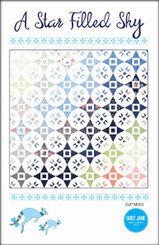 "A star Filled Sky  Finished Quilt Size 72 ½"" x 72 ½""  Finished Block Size 12"" x 12""    Make your own star filled sky with a layer cake and a charm pack .      Requirements  Blocks:  36 squares - 10"" x 10"" or 1 layer cake and 36 matching -  5"" x 5"" squares or 1 - charm pack  Background: 6 ¾ yards   Binding: ⅝ yard   Backing: 4 ½ yards   Batting: 76"" x 76""   EZ-Quilting Tri-Recs Tool ™ ruler (optional)"