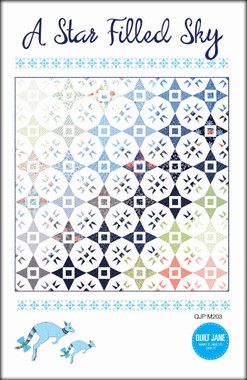 """A star Filled Sky  Finished Quilt Size 72 ½"""" x 72 ½""""  Finished Block Size 12"""" x 12""""    Make your own star filled sky with a layer cake and a charm pack .      Requirements  Blocks:  36 squares - 10"""" x 10"""" or 1 layer cake and 36 matching -  5"""" x 5"""" squares or 1 - charm pack  Background: 6 ¾ yards   Binding: ⅝ yard   Backing: 4 ½ yards   Batting: 76"""" x 76""""   EZ-Quilting Tri-Recs Tool ™ ruler (optional)"""